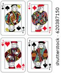 four jacks figures inspired by... | Shutterstock .eps vector #620387150