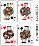 four jacks figures inspired by... | Shutterstock .eps vector #620387150