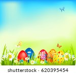 bright easter eggs on a grass.... | Shutterstock .eps vector #620395454