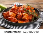 frying pan with delicious... | Shutterstock . vector #620407940