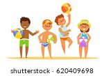 set summer kids with the ball... | Shutterstock .eps vector #620409698
