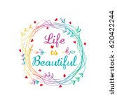 life is beautiful card  | Shutterstock .eps vector #620422244