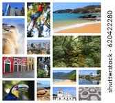 Small photo of Brazil travel collage with beaches, jungle, Sao Paulo, Rio de Janeiro, Iguazu and Curitiba.