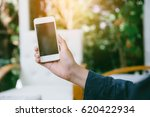 closeup of woman hands using...   Shutterstock . vector #620422934