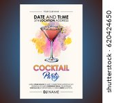 cocktail party flyer.... | Shutterstock .eps vector #620424650