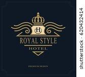 line art monogram luxury design ... | Shutterstock .eps vector #620432414