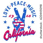 vintage peace sign hand graphic ... | Shutterstock .eps vector #620445098