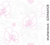 seamless floral pattern. linear ... | Shutterstock .eps vector #620466428