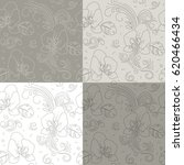 seamless floral pattern. linear ... | Shutterstock .eps vector #620466434