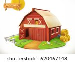 farm. red garden shed  3d... | Shutterstock .eps vector #620467148