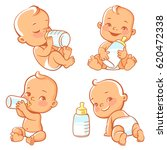 set with cute little baby with... | Shutterstock .eps vector #620472338