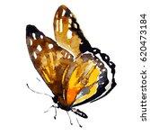 yellow butterfly watercolor... | Shutterstock .eps vector #620473184