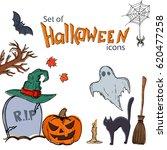 set of halloween icons.... | Shutterstock . vector #620477258