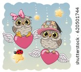 valentine card lovers owls are... | Shutterstock .eps vector #620501744