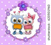 greeting card with two cute...   Shutterstock .eps vector #620501960