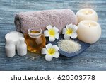 spa setting with aroma candles  ... | Shutterstock . vector #620503778