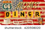 grungy retro route sixty six... | Shutterstock .eps vector #620508020
