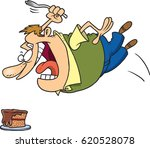 cartoon man attacking a cake | Shutterstock .eps vector #620528078
