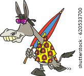 cartoon donkey going to the... | Shutterstock .eps vector #620533700