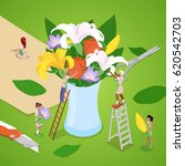 miniature people making bouquet ... | Shutterstock .eps vector #620542703