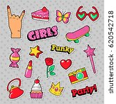 fashion girls badges  patches ... | Shutterstock .eps vector #620542718