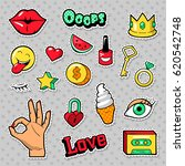 fashion badges set with patches ... | Shutterstock .eps vector #620542748
