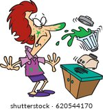 cartoon woman making a mess... | Shutterstock .eps vector #620544170