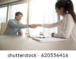 businesswoman and businessman... | Shutterstock . vector #620556416