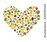 vector heart with a drawn fruit.... | Shutterstock .eps vector #620559164