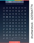 100 lined icons in minimalist... | Shutterstock .eps vector #620564774