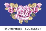 Stock vector delicate pink roses and rosebuds on a blue background traditional embroidery 620566514