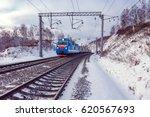 passenger train moves along... | Shutterstock . vector #620567693