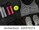 sports equipment and wear on... | Shutterstock . vector #620570174