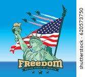 usa statue of liberty logo... | Shutterstock .eps vector #620573750
