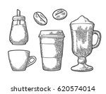 set glass coffee. disposable... | Shutterstock .eps vector #620574014