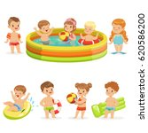 small children having fun in... | Shutterstock .eps vector #620586200