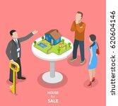 house for sale isometric flat... | Shutterstock .eps vector #620604146