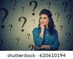 portrait confused woman... | Shutterstock . vector #620610194