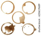 coffee stain rings set of five... | Shutterstock .eps vector #620619689