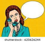 woman with phone pop art retro... | Shutterstock .eps vector #620626244