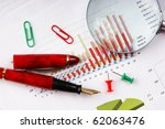 pen  magnifying glass and the... | Shutterstock . vector #62063476