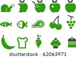 vector icons pack   green... | Shutterstock .eps vector #62063971