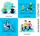 colorful sport family square... | Shutterstock .eps vector #620647328