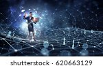 surfing the internet space .... | Shutterstock . vector #620663129