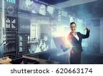woman with laptop in hands.... | Shutterstock . vector #620663174