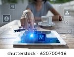 virtual screen interface. work... | Shutterstock . vector #620700416