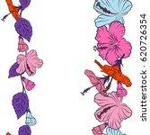 hibiscus flowers in orange ... | Shutterstock .eps vector #620726354