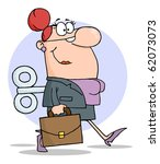 businesswoman with wind up key... | Shutterstock .eps vector #62073073