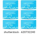 gift card with a gift box. set... | Shutterstock .eps vector #620732240