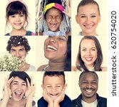 collage of people smiling... | Shutterstock . vector #620754020